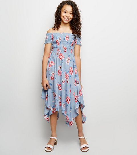 ... Girls Blue Floral Shirred Hanky Hem Dress ... d956897143ac