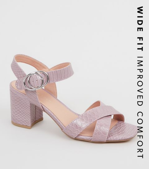 8092a7ac3e6 ... Wide Fit Light Purple Faux Croc Sandals ...