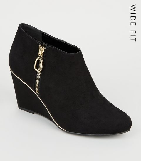 4f7176943a1 ... Wide Fit Black Gold Trim Wedge Ankle Boots ...