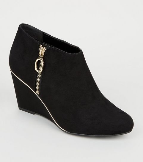 ba3644410af ... Wide Fit Black Gold Trim Wedge Ankle Boots ...