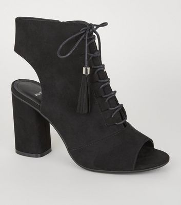 Wide Fit Black Suedette Lace Up Peep Toe Heels