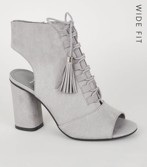 fb67dd7d57b ... Wide Fit Grey Suedette Lace Up Peep Toe Heels ...
