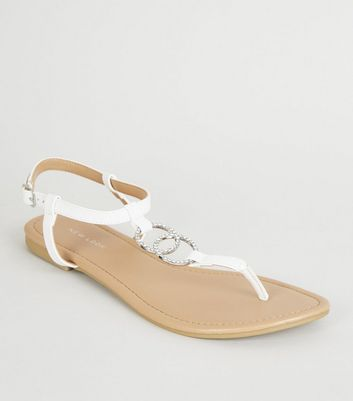 White Leather-Look Diamanté Ring Flat Sandals