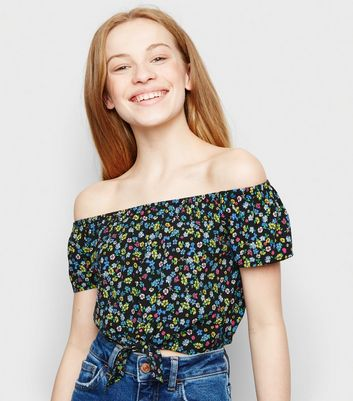 Girls Black Floral Tie Front Bardot Top