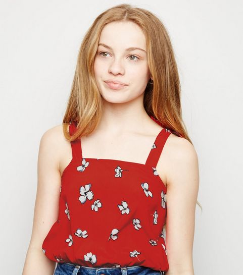200a7ac35 ... Girls Red Floral Tie Strap Cami ...