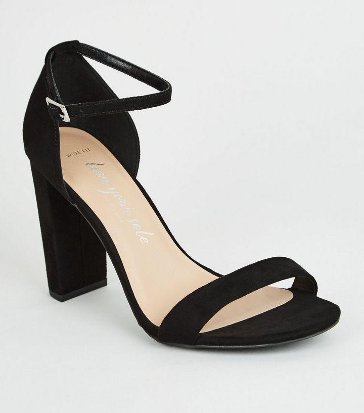 fd13fc700f376 Wide Fit Black Suedette 2 Part Block Heels | New Look