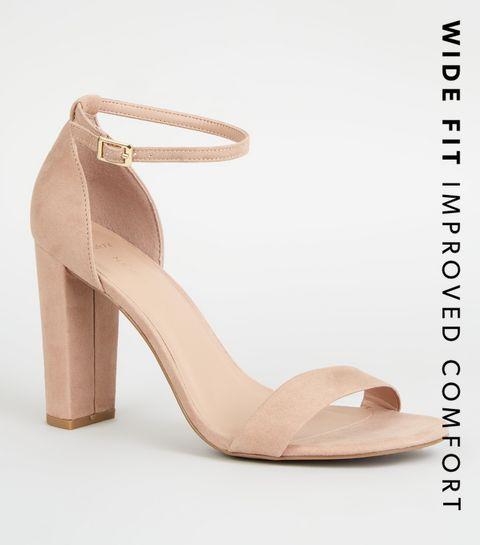 6a3e43f1d261f ... Wide Fit Nude Suedette 2 Part Block Heels ...