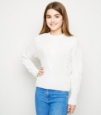 Girls Cream Cable Knit Jumper