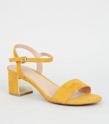 Wide Fit Mustard Suedette Block Heel