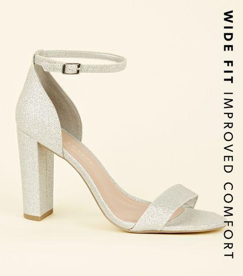a03189f12cb6e ... Wide Fit Silver Glitter Block Heels ...