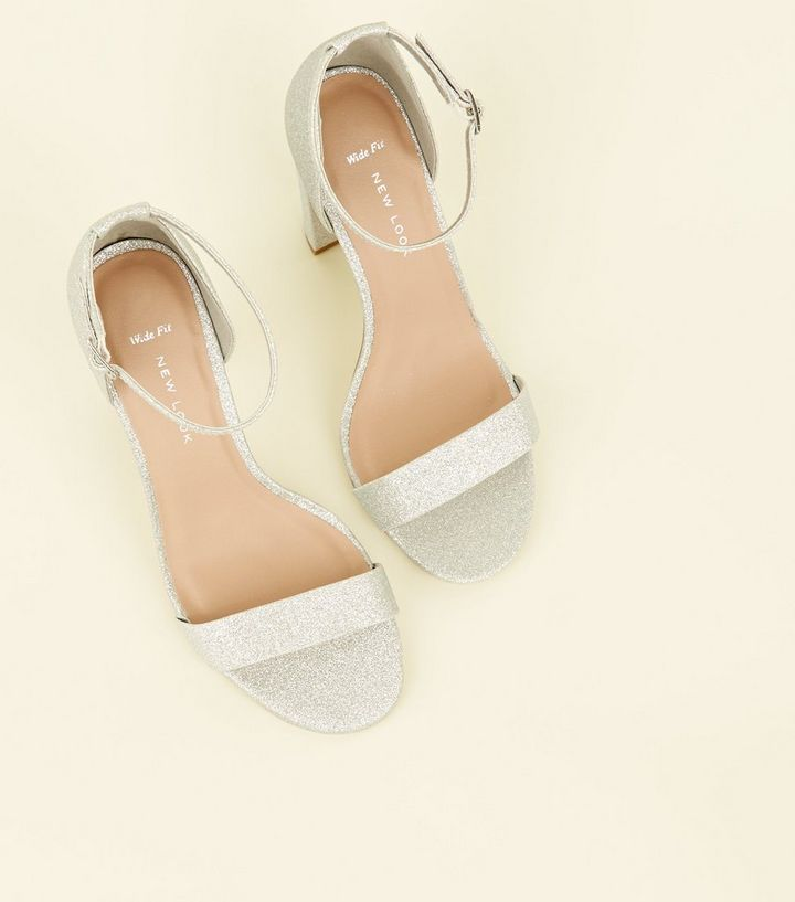 super cheap save up to 60% rock-bottom price Wide Fit Silver Glitter Block Heels Add to Saved Items Remove from Saved  Items