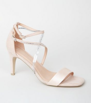 Wide Fit Pink Suedette Diamanté Strap Stilettos