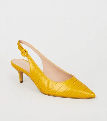 Wide Fit Yellow Faux Croc Slingbacks