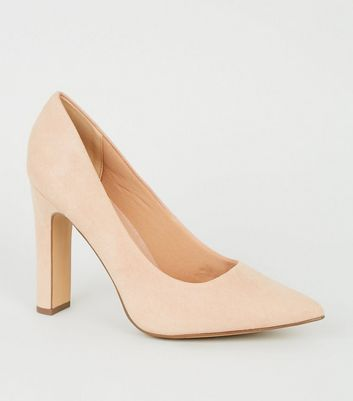 Wide Fit Nude Suedette Block Heel Courts