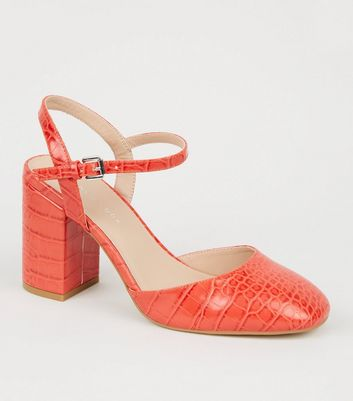 Wide Fit Red Faux Croc Square Toe Court Shoes