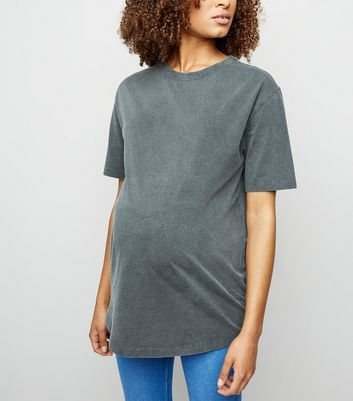 Maternity Grey Acid Wash Oversized T-Shirt