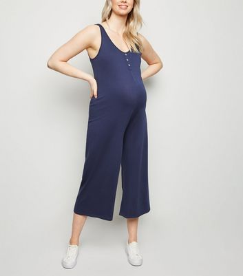 Maternity Navy Button Front Crop Jumpsuit