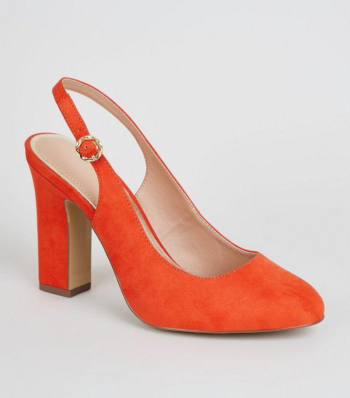 54518ce490 Wide Fit Orange Suedette Block Heel Slingbacks | New Look