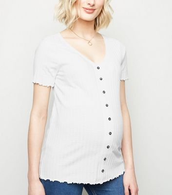Maternity Off White Ribbed Button Front Top