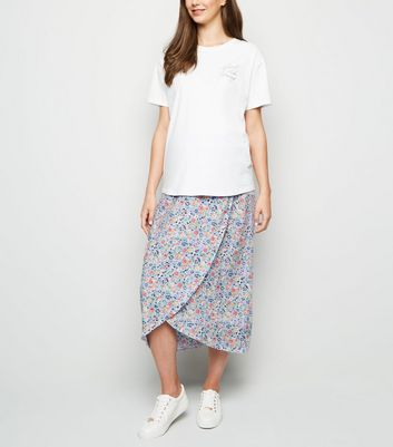 Maternity Lilac Ditsy Floral Wrap Midi Skirt