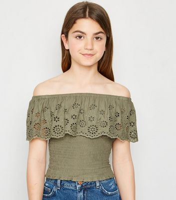 Girls Khaki Broderie Bardot Top