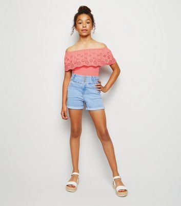 Girls Coral Broderie Bardot Top