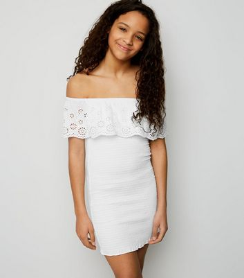 Girls White Shirred Broderie Bodycon Dress