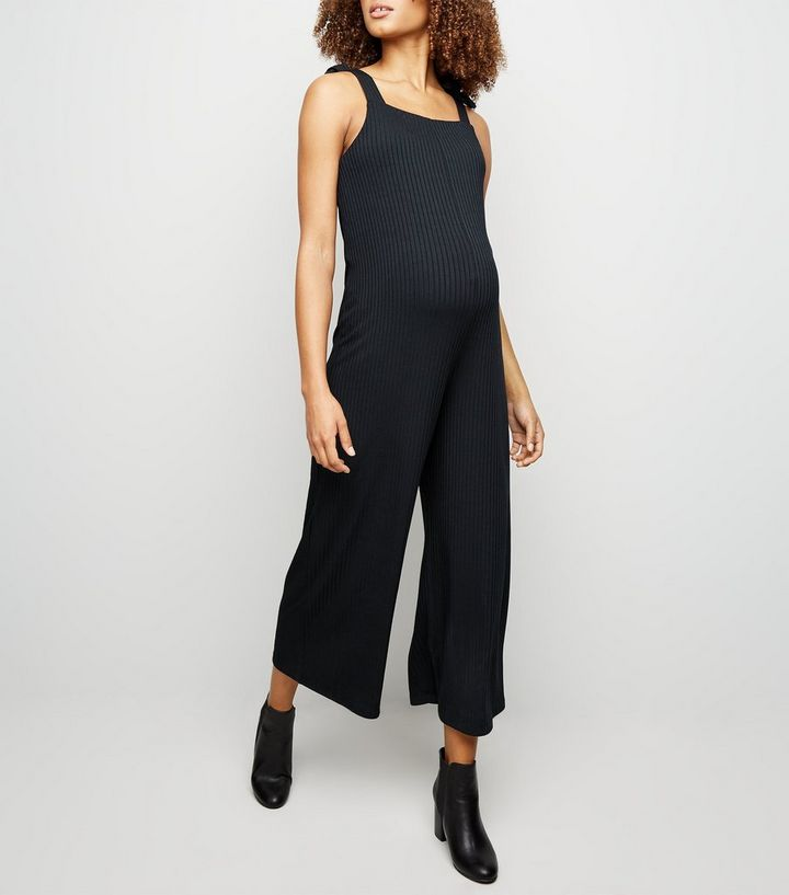 d06d6a17e03f Maternity Black Ribbed Square Neck Jumpsuit | New Look