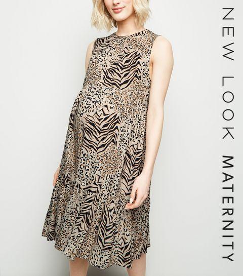 ... Maternity Brown Mixed Animal Print Smock Dress ... ba37698f4