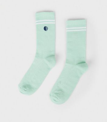 Light Green Embroidered Circle Sports Socks