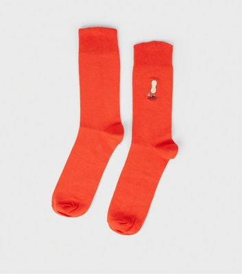 Red Peenut Embroidered Slogan Socks
