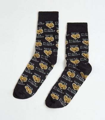 Black Pizza My Heat Slogan Socks