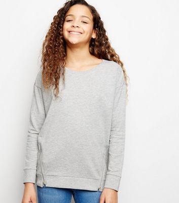 Girls Grey Zip Detail Sweatshirt
