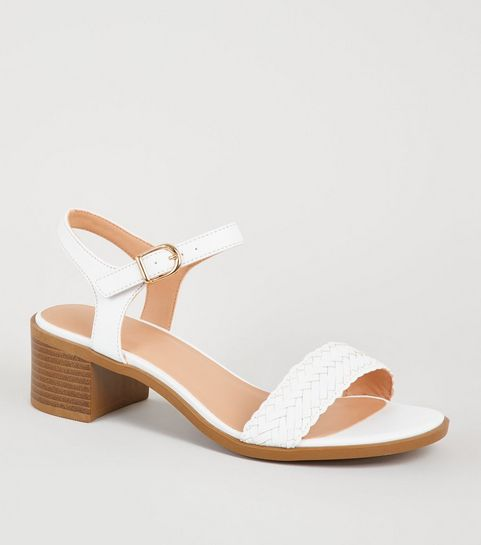af2d2a210ce Girls White Leather-Look Woven Strap Sandals ... Plaited Toe Thong Sandals.  2018 Summer New Style Open Toe High Heel Shoes ...