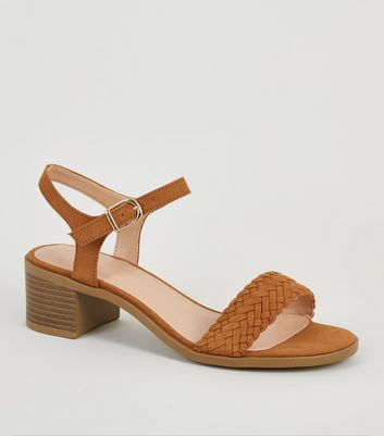 Girls Tan Suedette Woven Strap Sandals