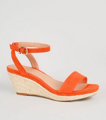 Girls – Orangefarbene Espadrilles mit Keilabsatz in Wildleder-Optik