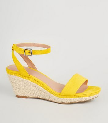 Girls Yellow Suedette Espadrille Wedges