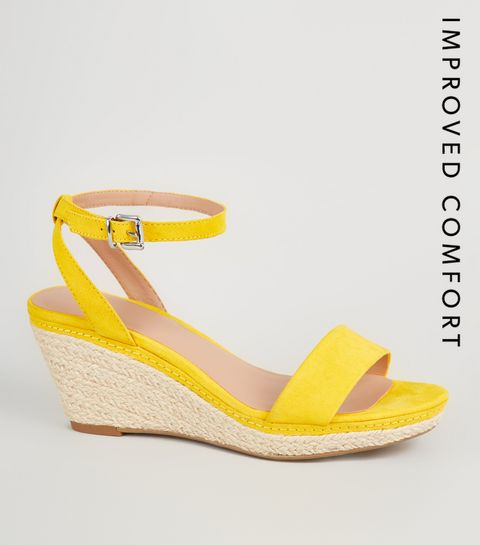 81e7a81d27c9 ... Girls Yellow Suedette Espadrille Wedge Sandals ...