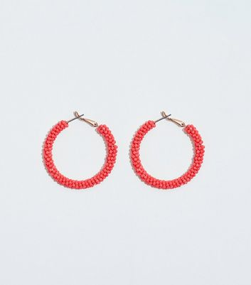 WANTED Coral Neon Beaded Hoop Earrings