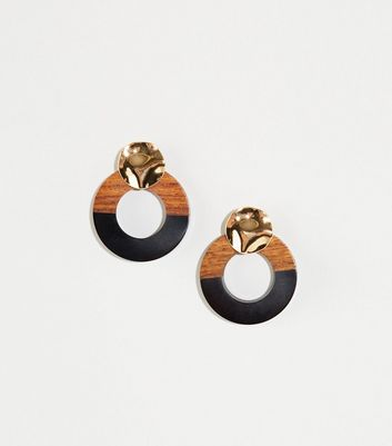 WANTED Brown Wooden Hammered Circle Earrings