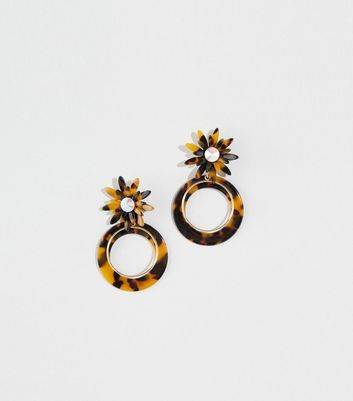 WANTED Brown Resin Tortoiseshell Flower Earrings