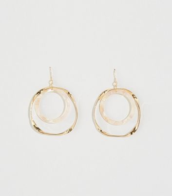 WANTED Gold Resin and Twisted Circle Earrings