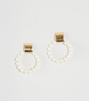 WANTED Off White Faux Pearl Door Knocker Earrings
