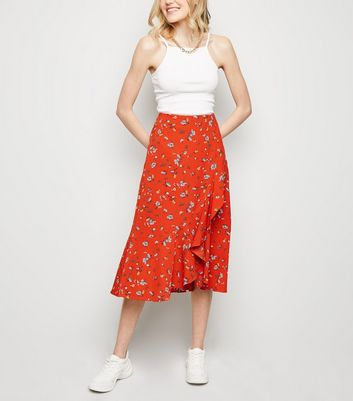 Brave Soul Red Floral Wrap Midi Skirt