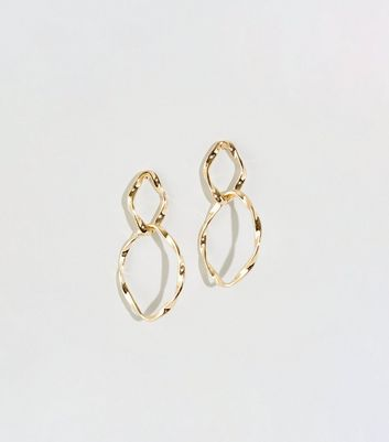 WANTED Gold Twisted Double Circle Earrings