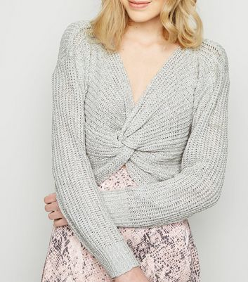 Grey Twist Front Knit Jumper
