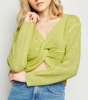 Yellow Twist Detail Knit Jumper