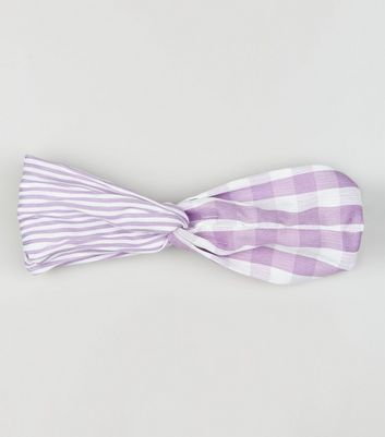 Lilac Check and Stripe Twist Front Headband