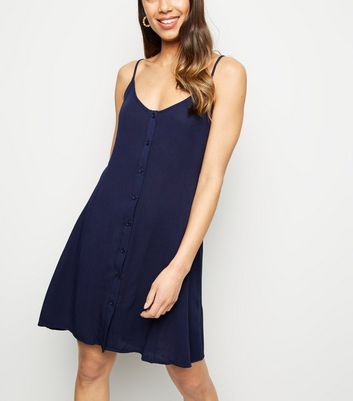 Brave Soul Navy Button Front Dress