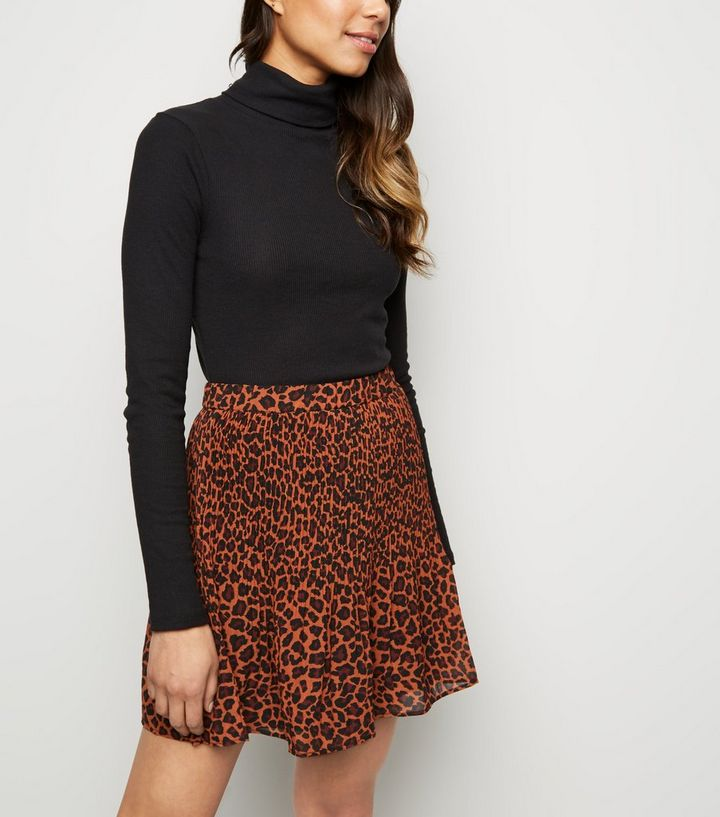 90c4437878d6 Brave Soul Brown Leopard Print Pleated Skirt | New Look